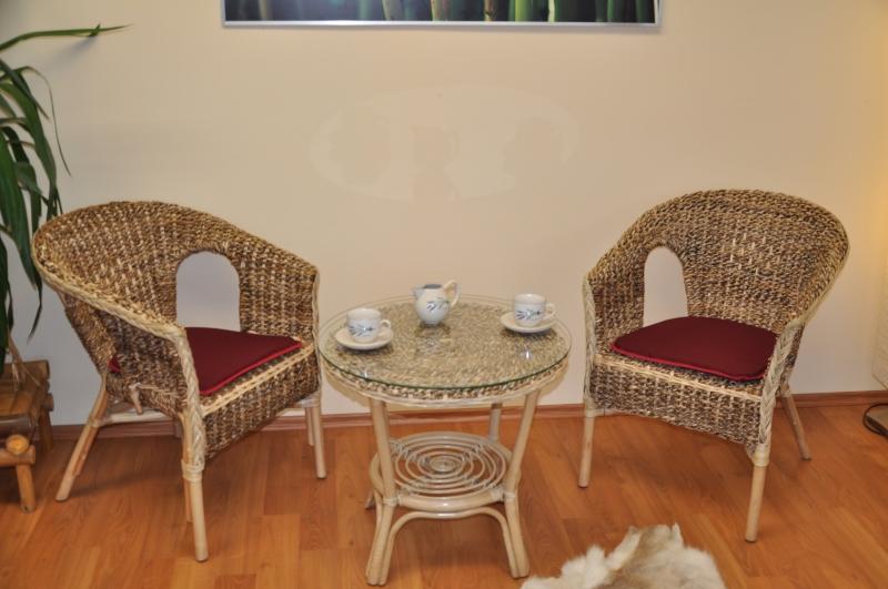 Ratanová sedací souprava Utan banánový list  polstry vínové