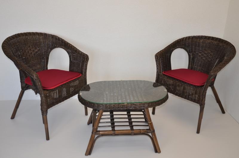 Ratanová sedací souprava Utan hnědá oválný stolek