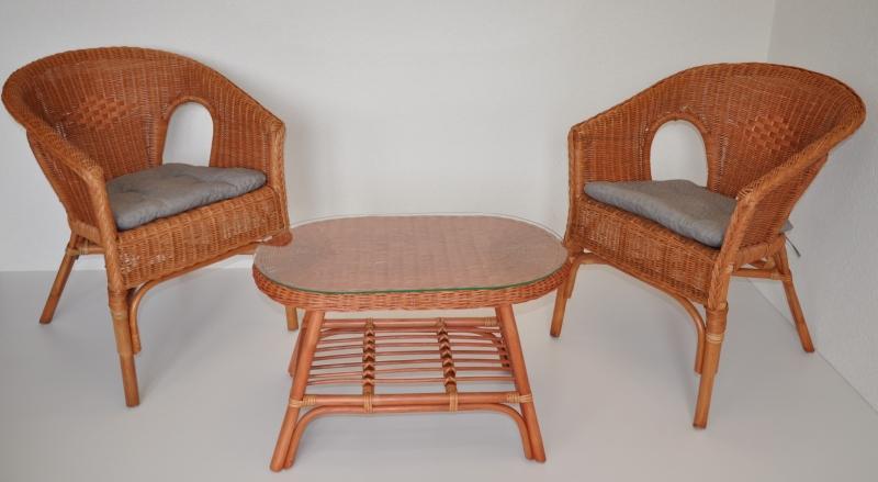 Ratanová sedací souprava Utan koňak oválný stolek