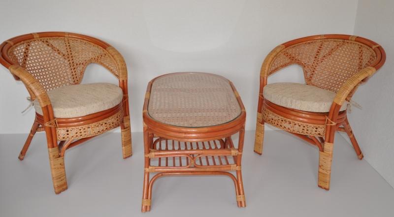 Ratanová sedací souprava Guo 2+1 koňak oválný stolek