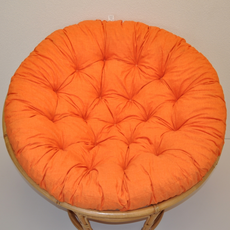 Polstr deluxe na křeslo papasan 100 cm - látka oranžový melír