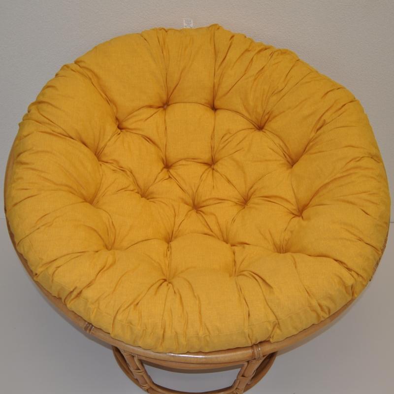 Polstr deluxe na křeslo papasan 100 cm - látka žlutý melír