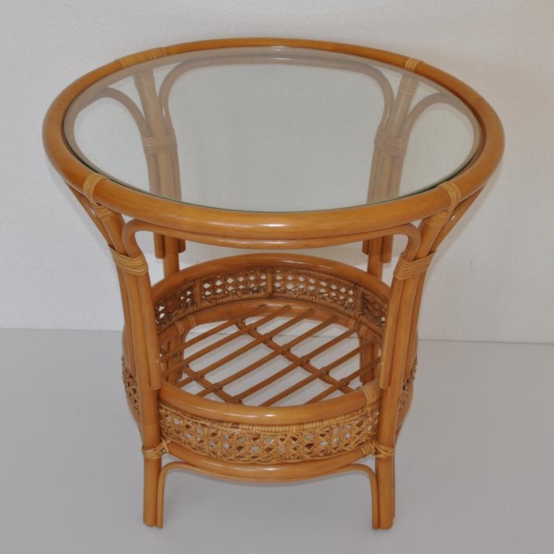 Ratanový stolek Guo kulatý medový