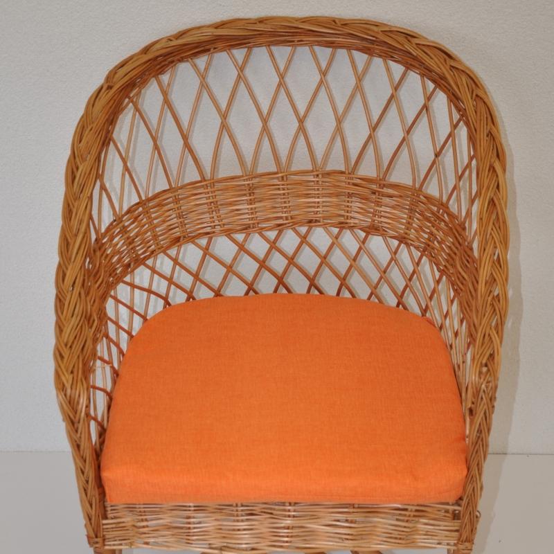 Polstr na křeslo z vrbového proutí - látka oranžový melír