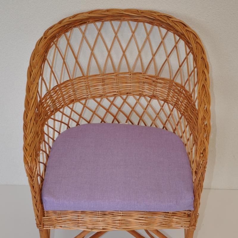 Polstr na křeslo z vrbového proutí - látka fialový melír