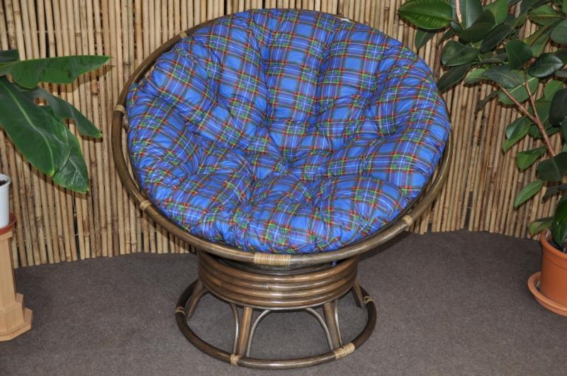 Ratanový papasan houpací hnědý polstr modrý