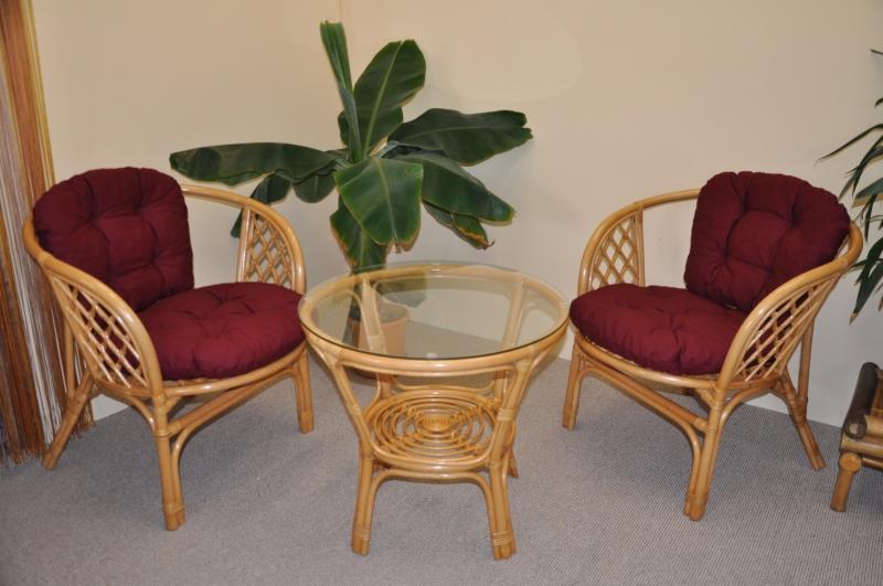 Ratanová sedací souprava Cayman malá medová vínové polstry