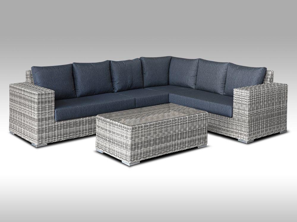 Zahradní set – exkluzivní sedací souprava Bianca 3 pro 6 osob, půlkulatý šedý umělý ratan