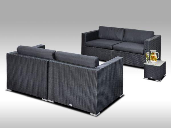 Umělý ratan - luxusní sedací souprava ALLEGRA 5 černá  s odkládacím stolkem4 osoby + DÁREK
