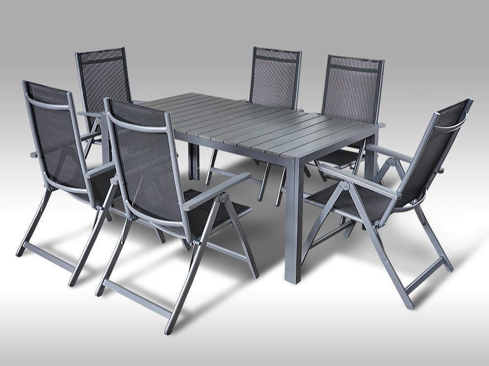 Hliníkový zahradní nábytek: stůl Jerry 160cm tmavě šedý a 6 polohovacích křesel Palermo
