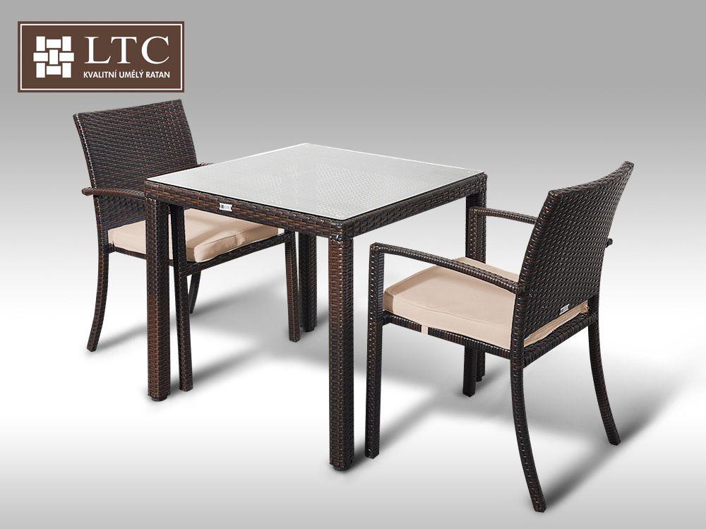 Umělý ratan - jídelní sestava Orlando 80 + 2 židle Armino hnědá, světle hnědý polstr