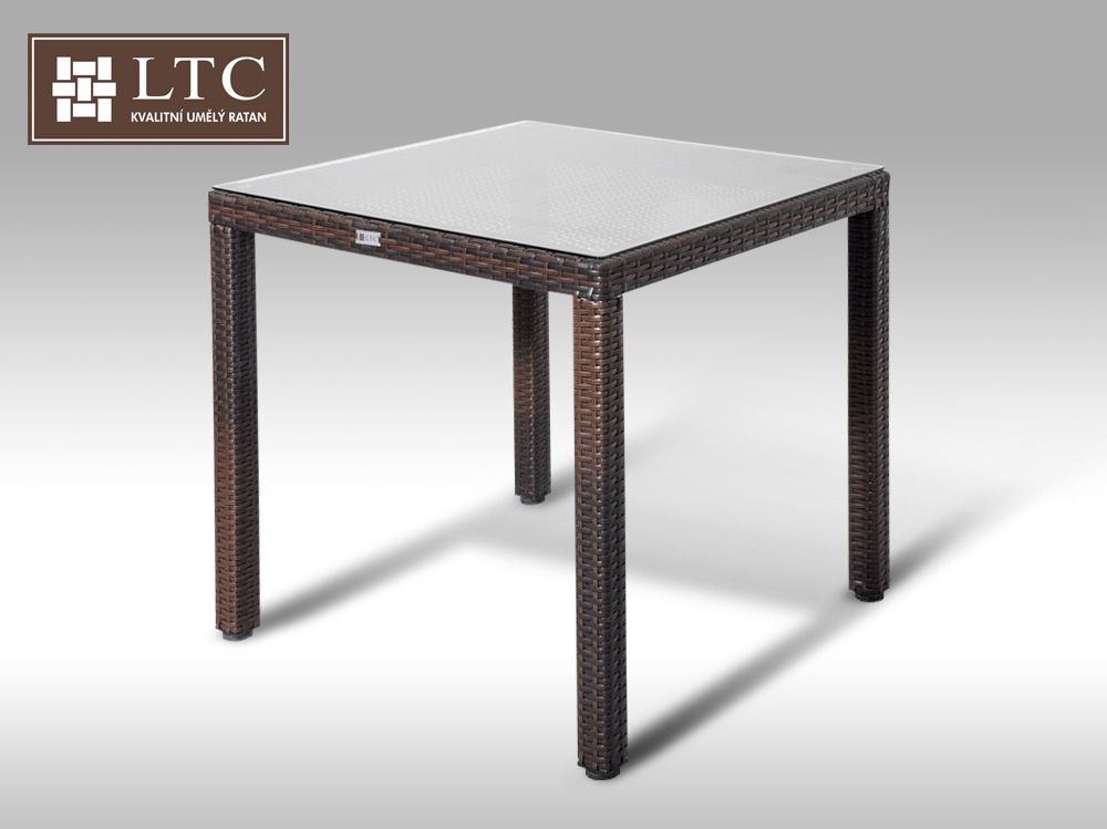 Umělý ratan - stůl Orlando 80x80 hnědý