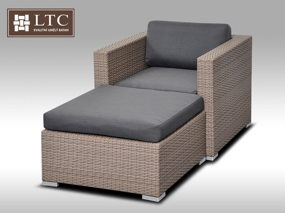 Umělý ratan - luxusní sedací souprava ALLEGRA 1 šedobéžová 1-2 osoby