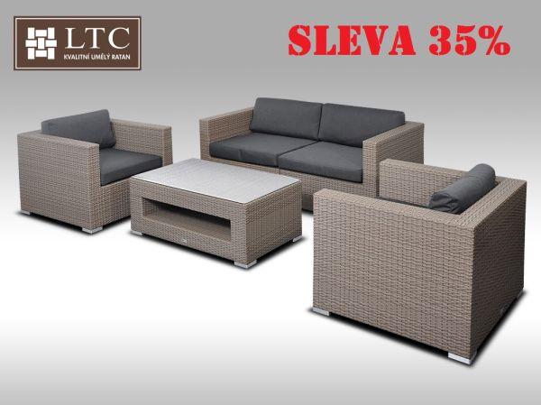 Umělý ratan - luxusní sedací souprava ALLEGRA II šedobéžová 4 osoby