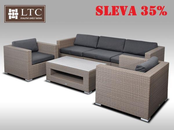 Umělý ratan - luxusní sedací souprava ALLEGRA III šedobéžová 5 osob