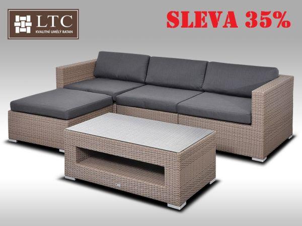 Luxusní rohová sedací souprava ALLEGRA VII šedobéžová 3-4 osoby