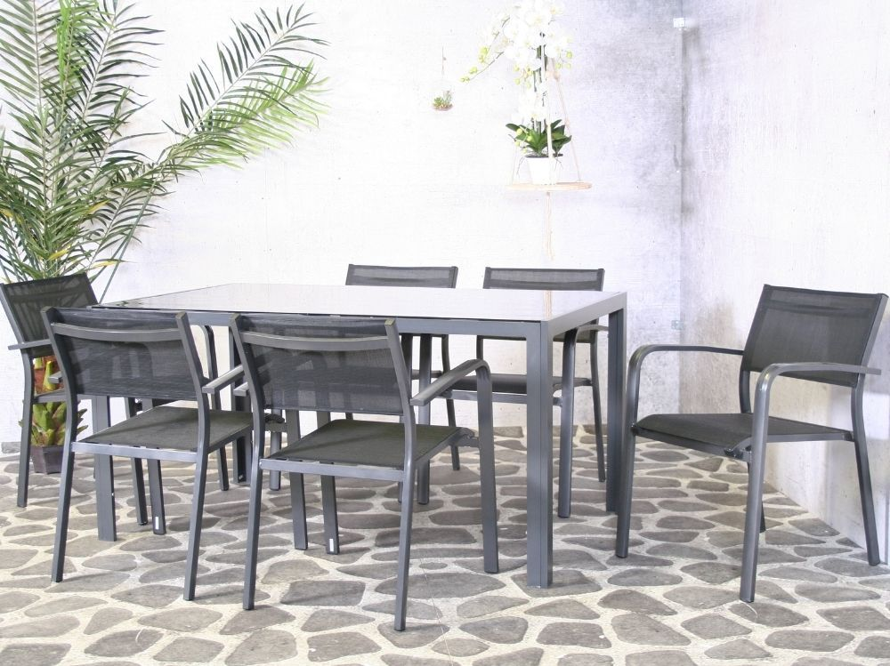 Hliníkový zahradní nábytek: stůl Palermo 150cm a 6 stohovatelných křesel Juventus
