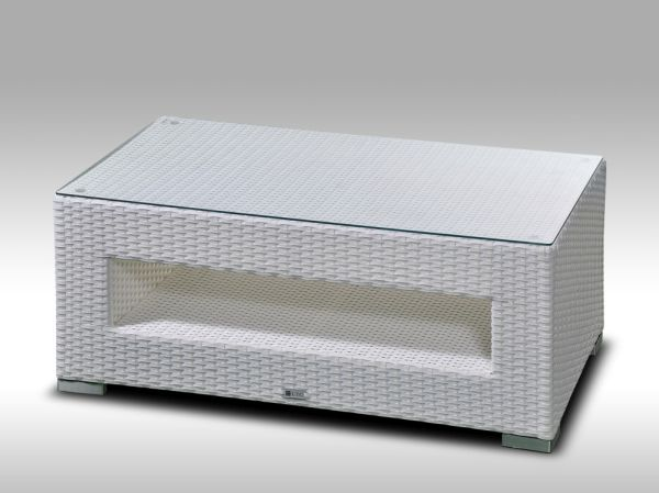 Konferenční stolek z umělého ratanu ALLEGRA bílý