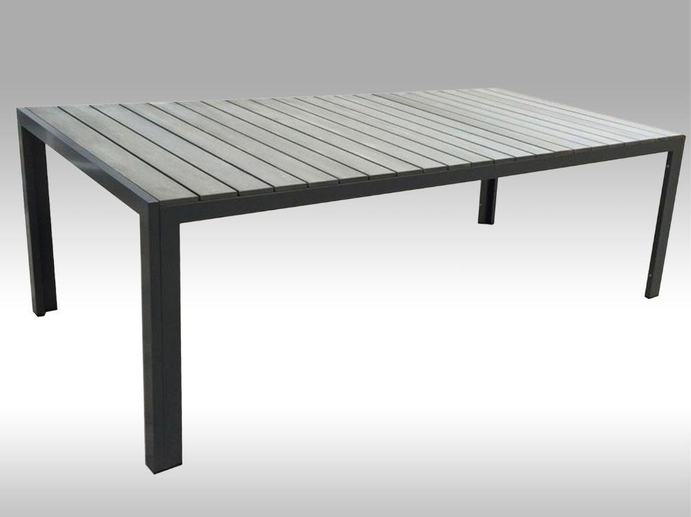 Hliníkový zahradní stůl Jerry 220cm x 100cm, tmavě šedý, pro 8 osob