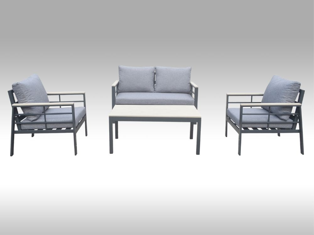 Zahradní set – hliníková sedací souprava Forza šedá pro 4 osoby